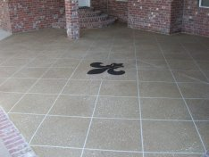 Patio overlay with diamond pattern, and a Fleur De Lis